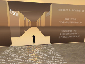 Virtual alphabet space. Second Life installation. Carraro 2007.