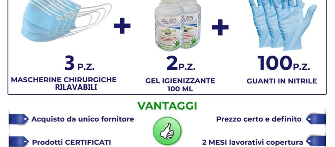 kit protezione covid19 mascherine guanti gel igienizzante