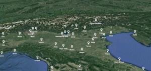 Mappa 3d delle sedi collegate all'evento in streaming