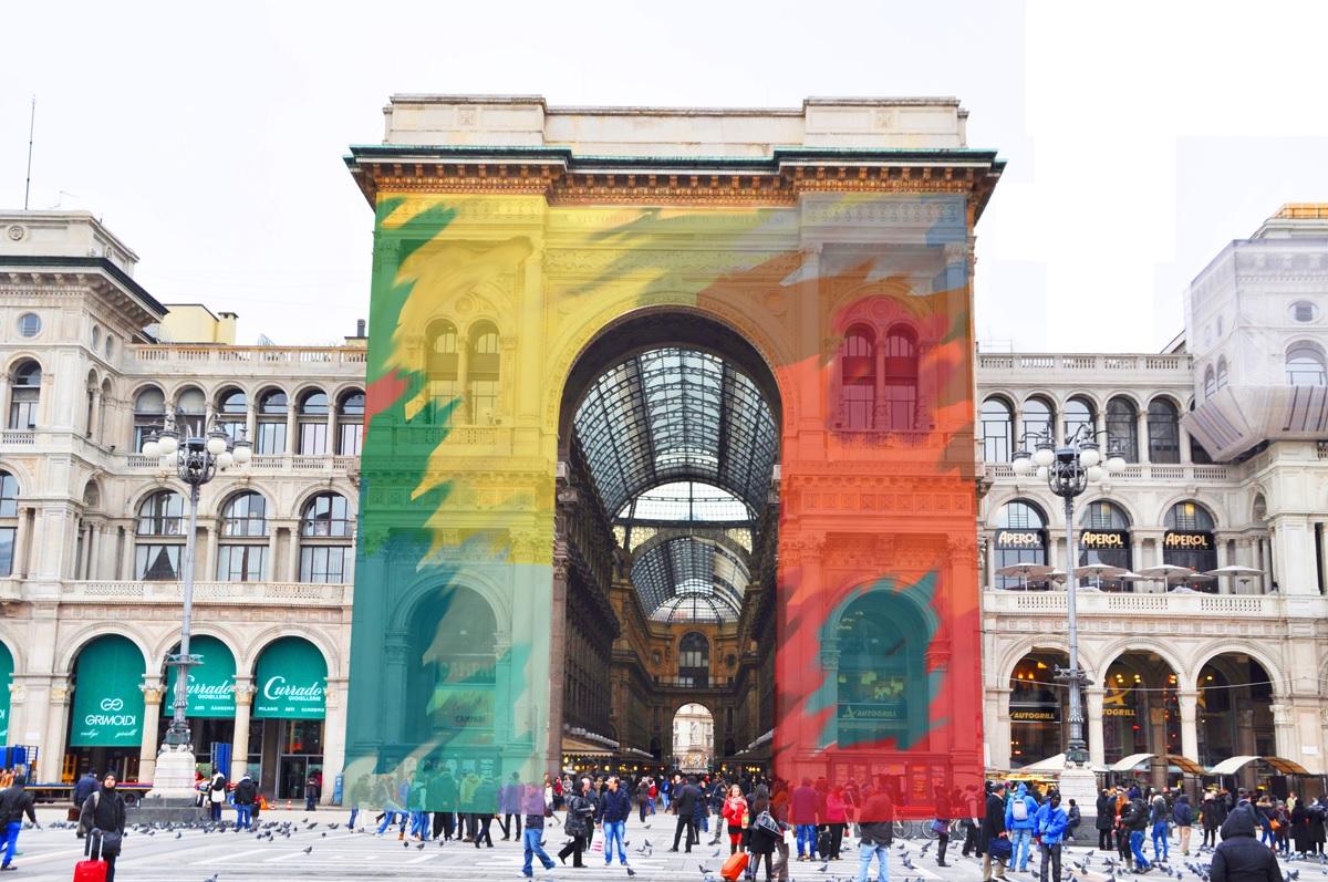 graffiti aumentati in piazza Dumo a Milano